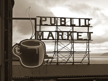 Signe de marché public - Seattle, Washington images libres de droits