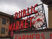 Signe de marché publique Photos libres de droits