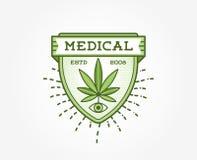 Signe de marijuana de cannabis ou calibre médical de label dans le vecteur canette illustration libre de droits