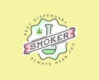 Signe de marijuana de cannabis ou calibre médical de label dans le vecteur canette illustration stock