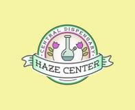 Signe de marijuana de cannabis ou calibre médical de label dans le vecteur canette illustration de vecteur