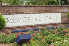 Signe de Memorial Park Photos stock