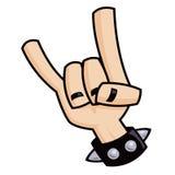 Signe de métaux lourds de main de klaxons de diable Images libres de droits