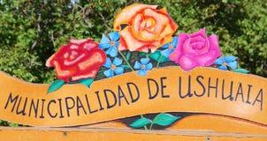 Signe de municipalité d'Ushuaia Image stock