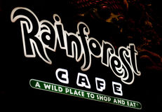 Signe de neono de café de forêt humide Photos stock