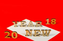 Signe de nouvelle année de lettres en bois Photographie stock libre de droits