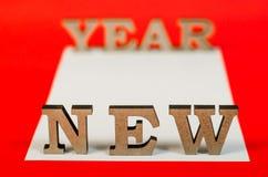 Signe de nouvelle année de lettres en bois Photo libre de droits