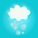 Signe de nuage de livre blanc avec des flocons de neige Photographie stock