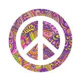 Signe de pacifisme de vecteur Fond hippie d'ornamental de style Amour et paix, fond tiré par la main de griffonnage et textures P Photos stock
