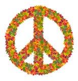 Signe de paix des feuilles colorées Image libre de droits