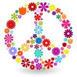 Signe de paix fait de fleurs Photo stock