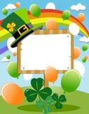 Signe de panneau en bois de blanc de jour de St Patrick s Images libres de droits