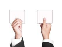 Signe de papier avec des mains d'affaires Image libre de droits