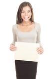 Signe de papier de fixation de femme Image libre de droits