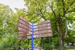 Signe de parc d'Europa dans la rouille, Allemagne Photographie stock