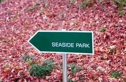 Signe de parc de bord de la mer Photo stock