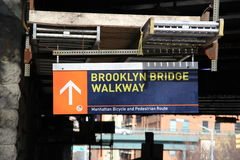 Signe de passage couvert de pont de Brooklyn Images libres de droits