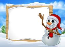 Signe de personnage de dessin animé de Noël de bonhomme de neige Illustration Stock