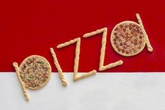 Signe de pizza Photos stock