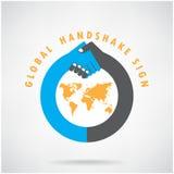 Signe de poignée de main de Gobal et concept d'affaires. Photo stock