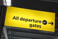 Signe de porte de déviation d'aéroport images libres de droits