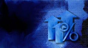 Signe de pour cent avec des flèches et des nombres Photographie stock libre de droits