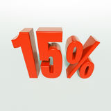 Signe de 15 pour cent rouge Photographie stock libre de droits