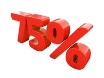 Signe de 75 pour cent rouge d'isolement Image stock
