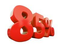 Signe de 85 pour cent rouge d'isolement Image stock