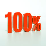 Signe de pour cent rouge de 100 % Images stock