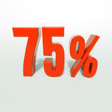 Signe de pourcentage, 75 pour cent Photo libre de droits