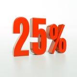 Signe de pourcentage, 25 pour cent Photographie stock