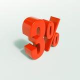 Signe de pourcentage, 3 pour cent Photo stock