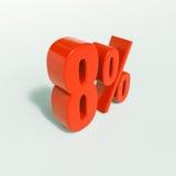 Signe de pourcentage, 8 pour cent Photographie stock libre de droits