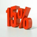 Signe de pourcentage, 15 pour cent Photos stock