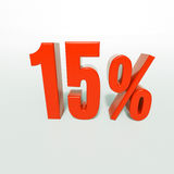 Signe de pourcentage, 15 pour cent Photo stock