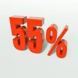 Signe de pourcentage, 55 pour cent Image stock