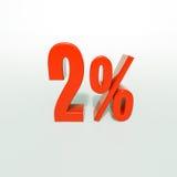 Signe de pourcentage, 2 pour cent Photo stock
