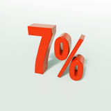 Signe de pourcentage, 7 pour cent Image stock