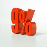 Signe de pourcentage, 9 pour cent Image libre de droits