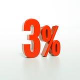 Signe de pourcentage, 3 pour cent Photos stock