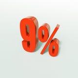 Signe de pourcentage, 9 pour cent Images stock