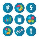Signe de prise électrique Lampe et batterie Photographie stock libre de droits
