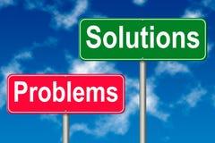 Signe de problèmes et de solutions Photographie stock