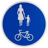 Signe de promenade et de chemin de cycle Photographie stock