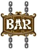 signe de pub de bière de bar en bois Photo stock