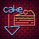 Signe de publicité au néon de gâteau illustration de vecteur