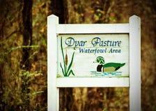 Signe de refuge d'oiseaux aquatiques de pâturage de Dyar Photo stock