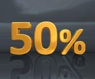 Or 50%, signe de remise de cinquante pour cent Photo libre de droits