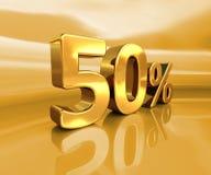 Or 50%, signe de remise de cinquante pour cent Images libres de droits